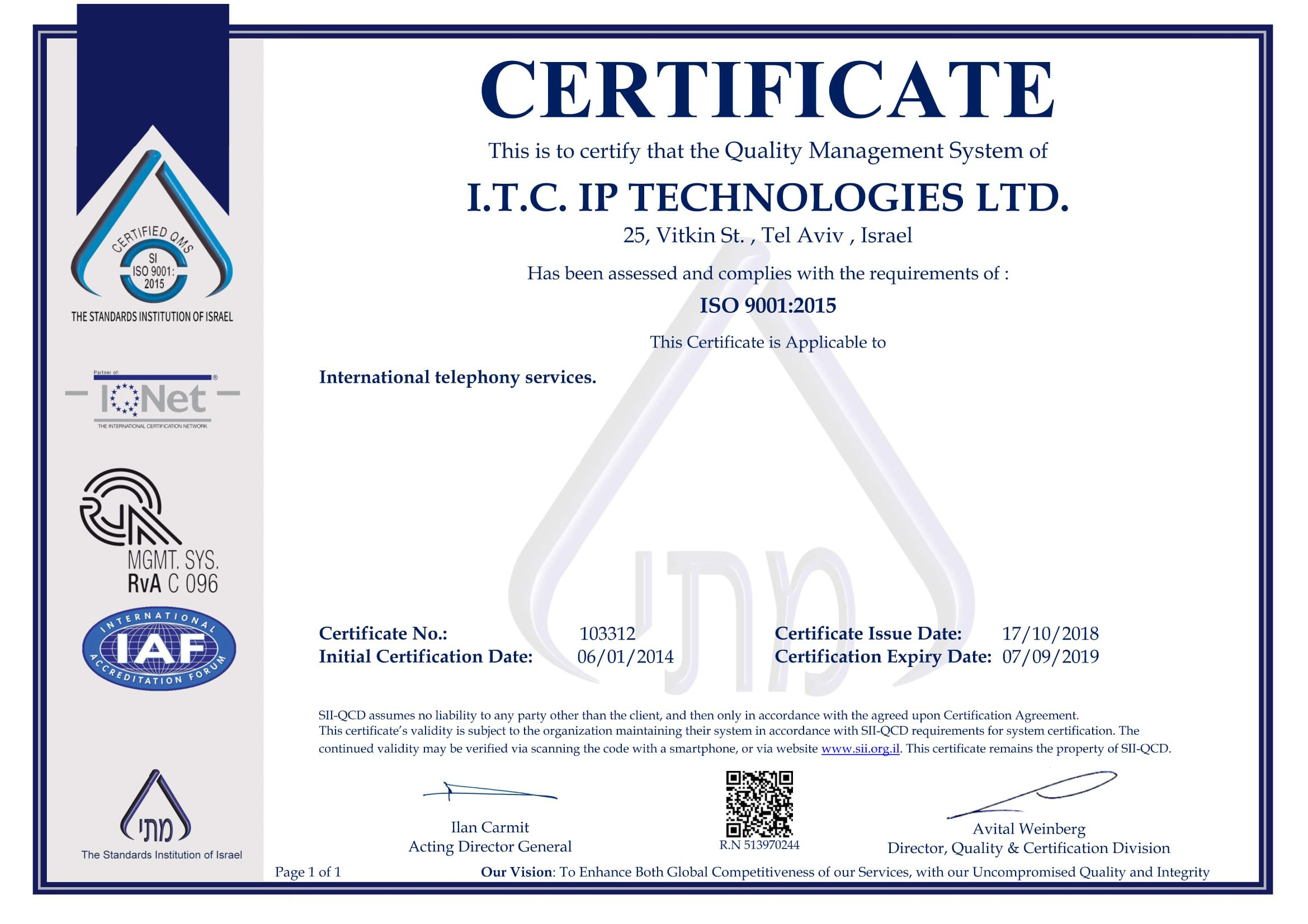 ITC Certificate ISO9000